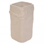Vaso Quadrado Relief Bege Grande em Cerâmica - 27x16 cm
