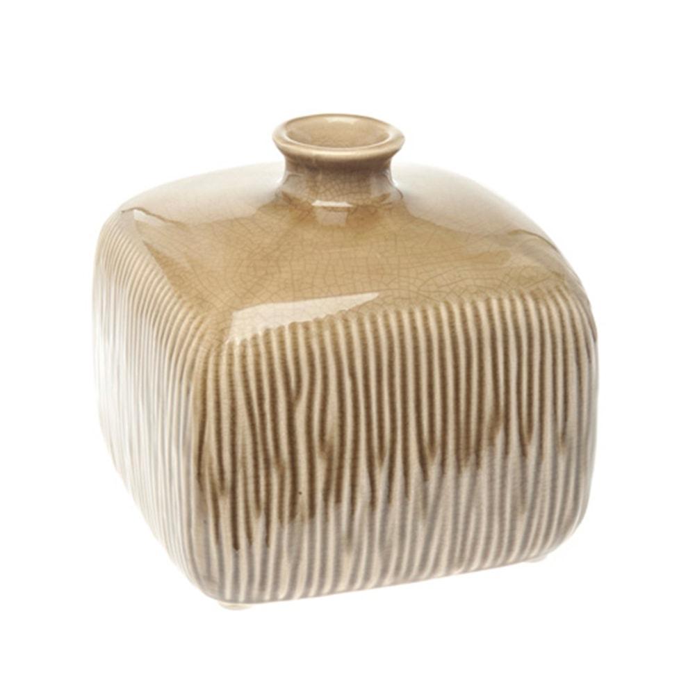 Vaso Quadrado Sripe Pequeno Marrom em Cerâmica - 18x17 cm