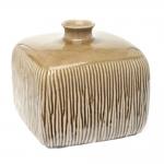 Vaso Quadrado Sripe Pequeno Marrom em Cerâmica - 22x20 cm