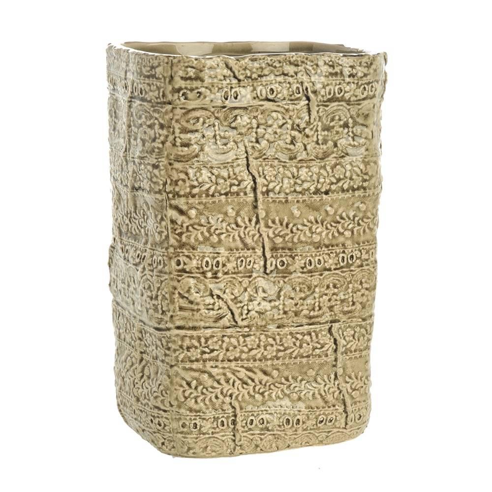 Vaso Recta Border Grande Caramelo em Cerâmica - 24x16 cm
