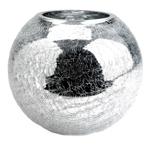 Vaso Redondo Craquelado Prata em Vidro
