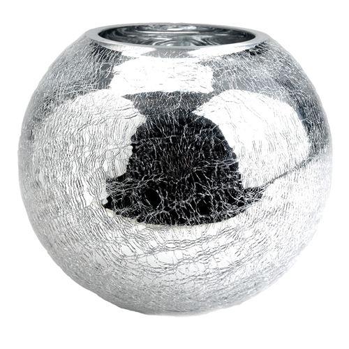 Vaso Redondo Craquelado Prata em Vidro - 20x17 cm