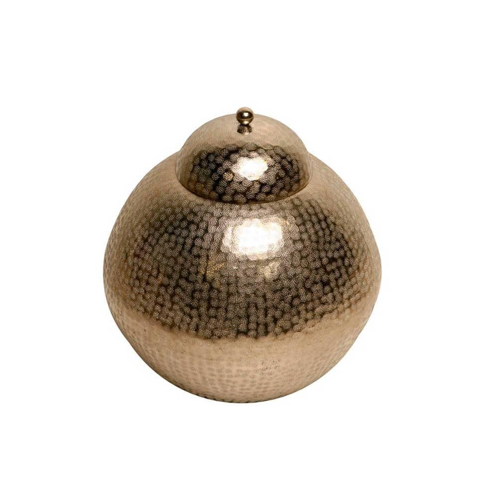 Vaso Redondo Indiano Prata em Metal - 46x37 cm