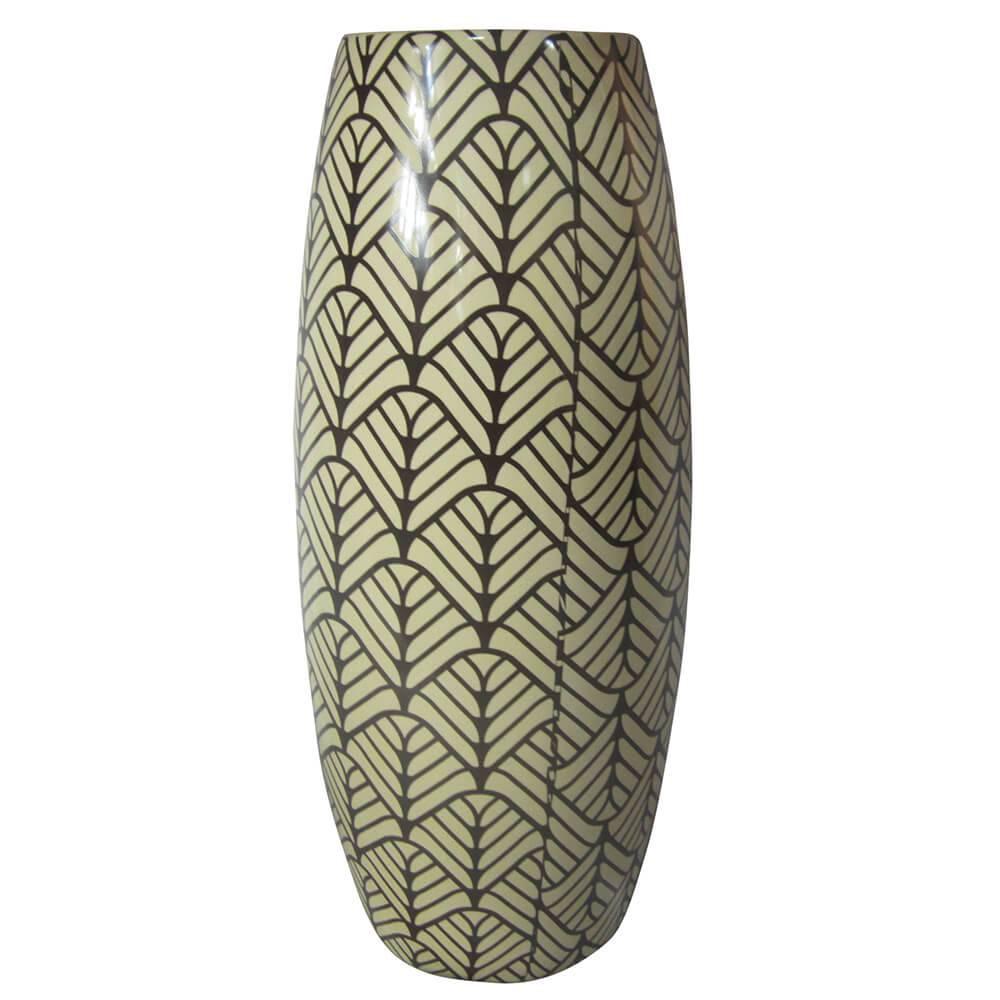Vaso Reel Le Jazz African Leaves Fundo Claro em Cerâmica - Urban - 30x13 cm