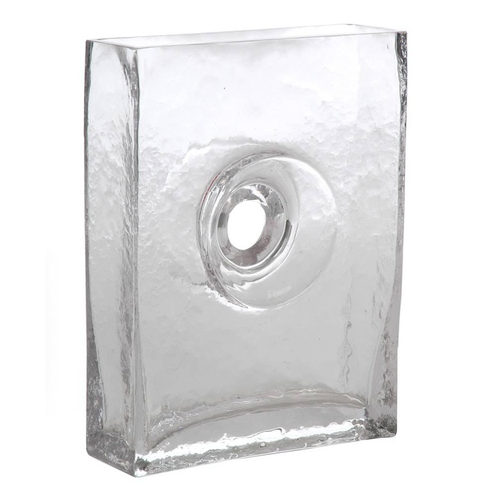 Vaso Retangular com Acabamento Central Vazado Transparente em Vidro - 15x10 cm