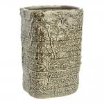 Vaso Retangular Alto Border Verde Grande em Cerâmica