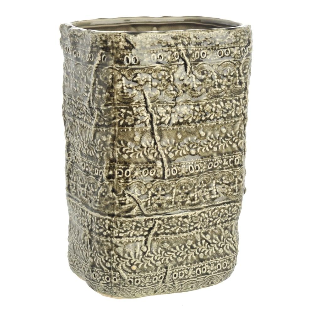 Vaso Retangular Alto Border Verde Grande em Cerâmica - 24x16 cm