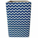 Vaso Retangular Índigo Chevron Azul em Cerâmica - Urban - 25x15 cm
