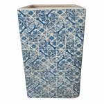 Vaso Retangular Índigo Portuguese Tile Azul em Cerâmica - Urban - 25x15 cm