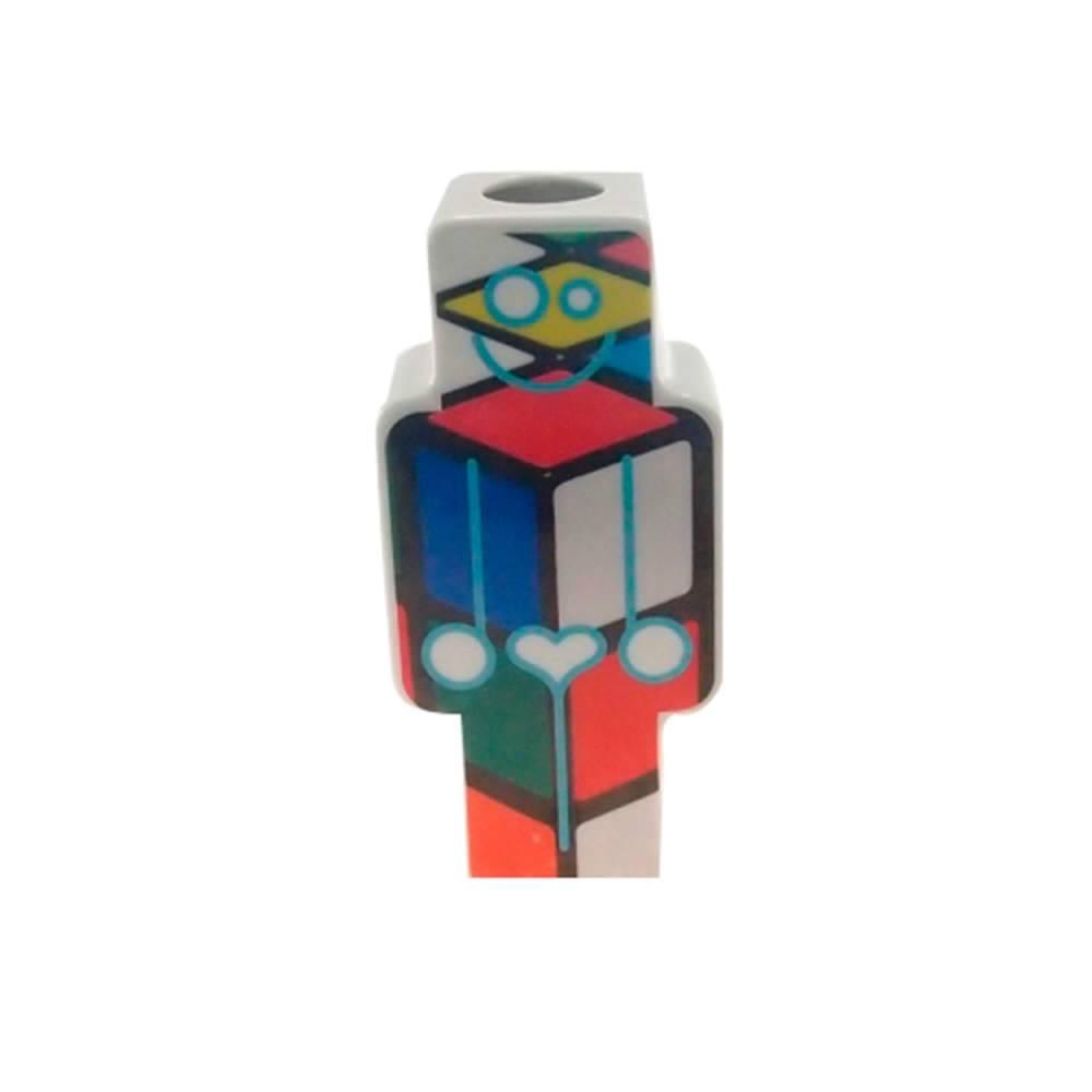 Vaso Robô Mondrian Colorido em Porcelana - 21x10 cm