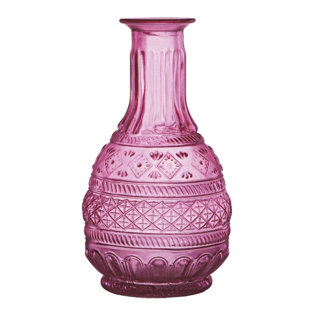 Vaso Rosê Bojudo com Estrutura Detalhada em Vidro - 18,5x10 cm