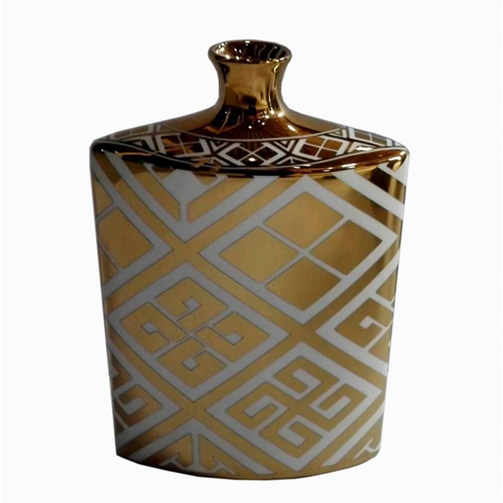 Vaso Royal Dourado com Detalhes Brancos em Cerâmica - 26x17 cm