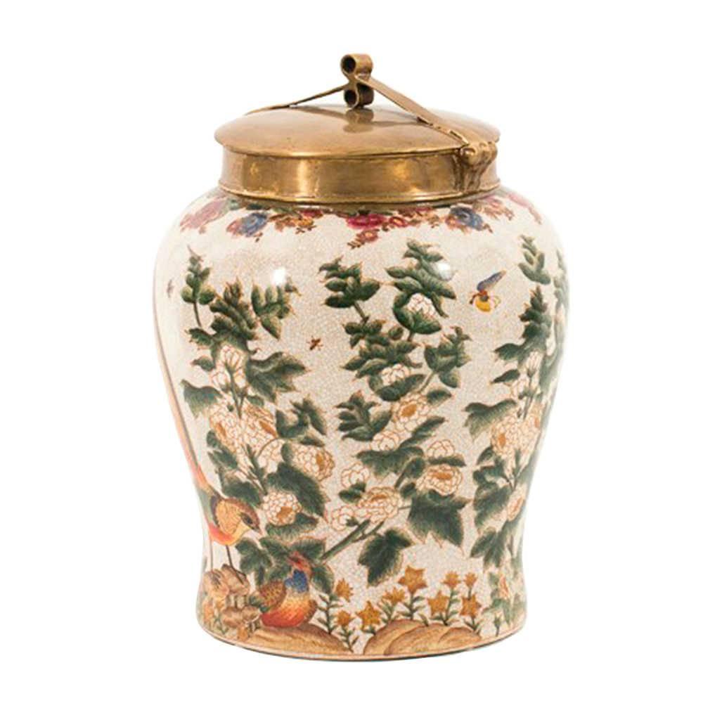 Vaso Saint Floral com Fundo Bege Médio em Porcelana - 30x23 cm