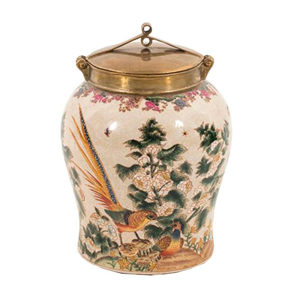 Vaso Saint Floral com Fundo Bege Pequeno em Porcelana - 27x17 cm