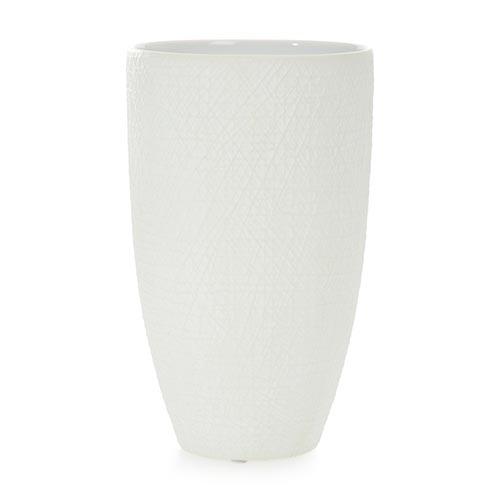 Vaso Scratches Branco em Cerâmica - 25x15 cm