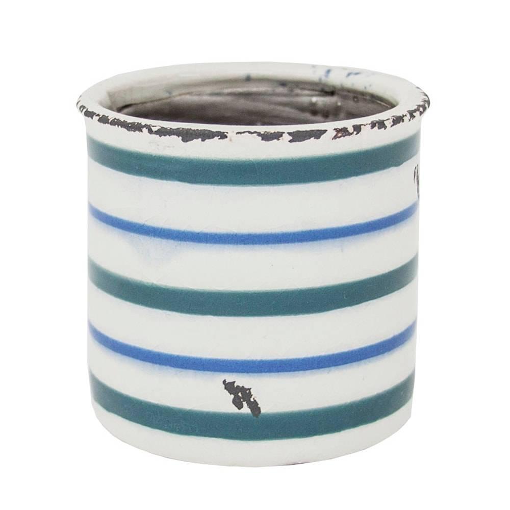 Vaso Simple Lines Azul/Branco Pequeno em Cerâmica - 9x9 cm