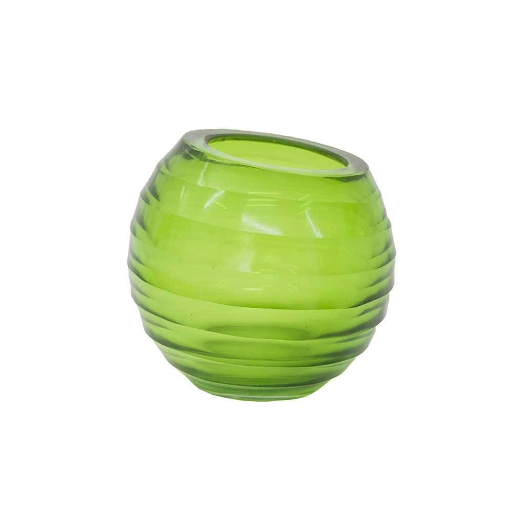 Vaso Slant Verde em Vidro com Relevo - 15x13 cm