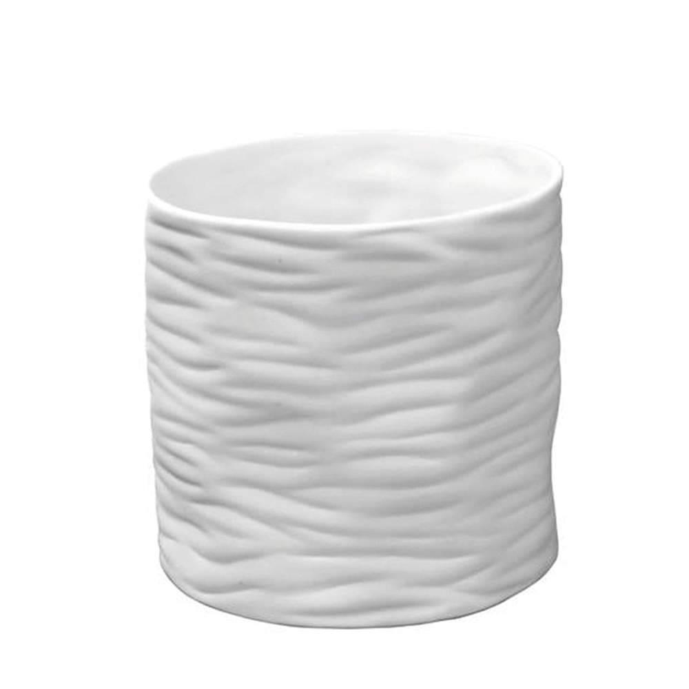 Vaso Smashed Branco Fosco Pequeno em Cerâmica - Urban - 16x12 cm