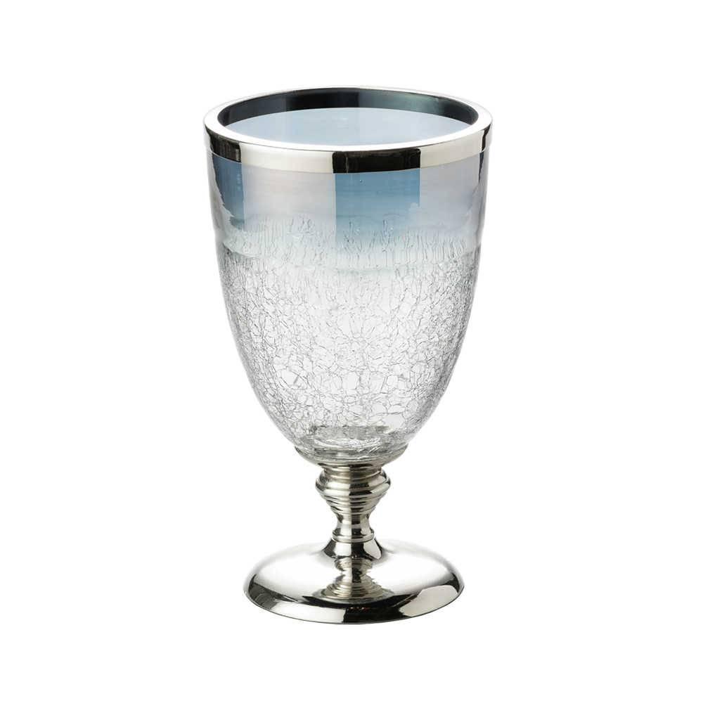 Vaso Smoke Craquelado Médio em Vidro - Lyor Classic - 26x18 cm