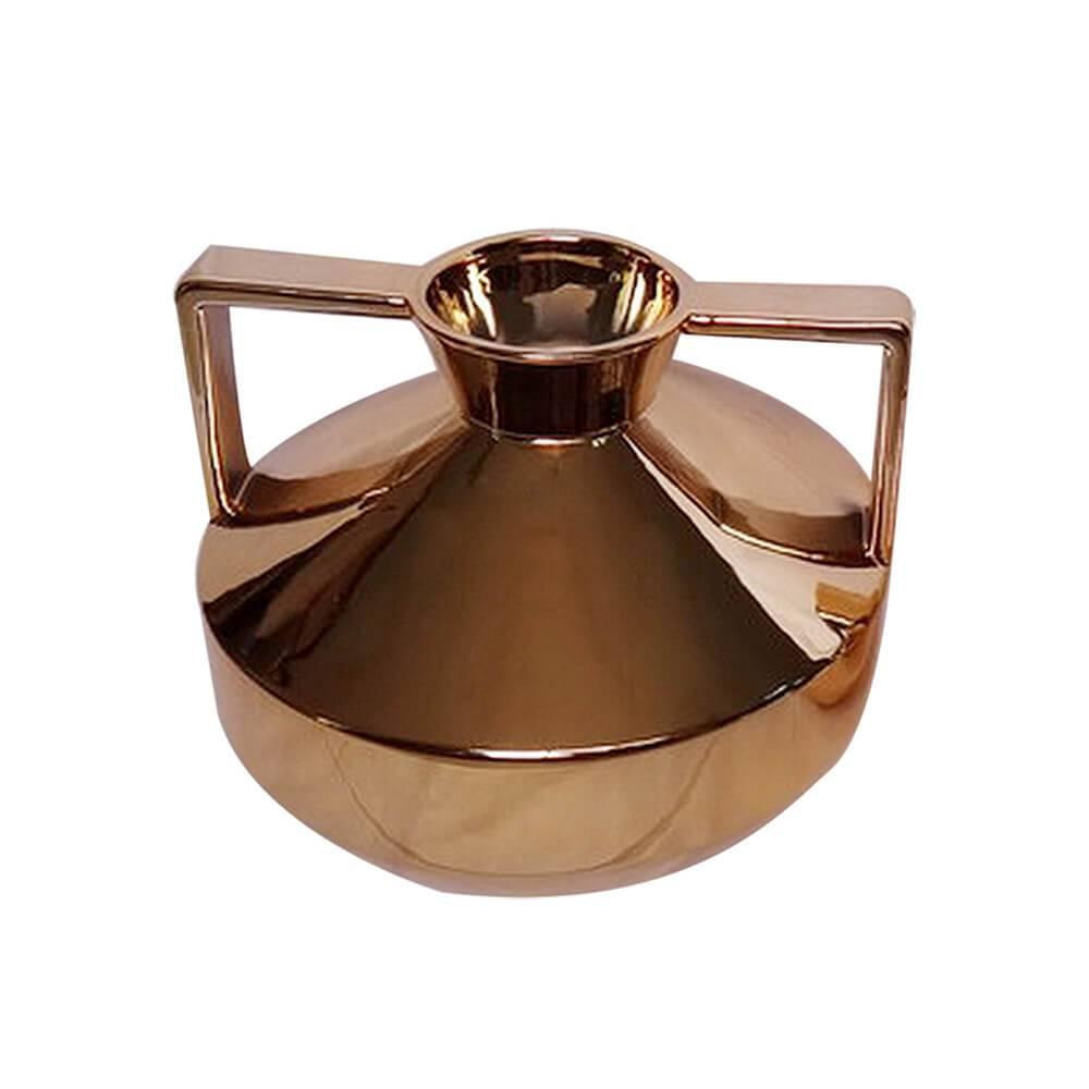 Vaso Spotlight Dourado Grande em Cerâmica - Urban - 22,5x18,6 cm