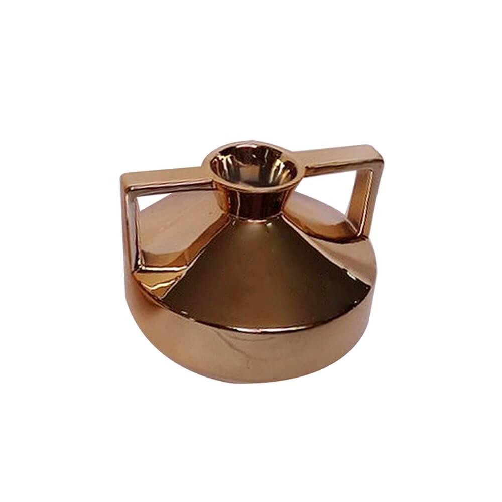 Vaso Spotlight Dourado Pequeno em Cerâmica - Urban - 18,7x14,5 cm