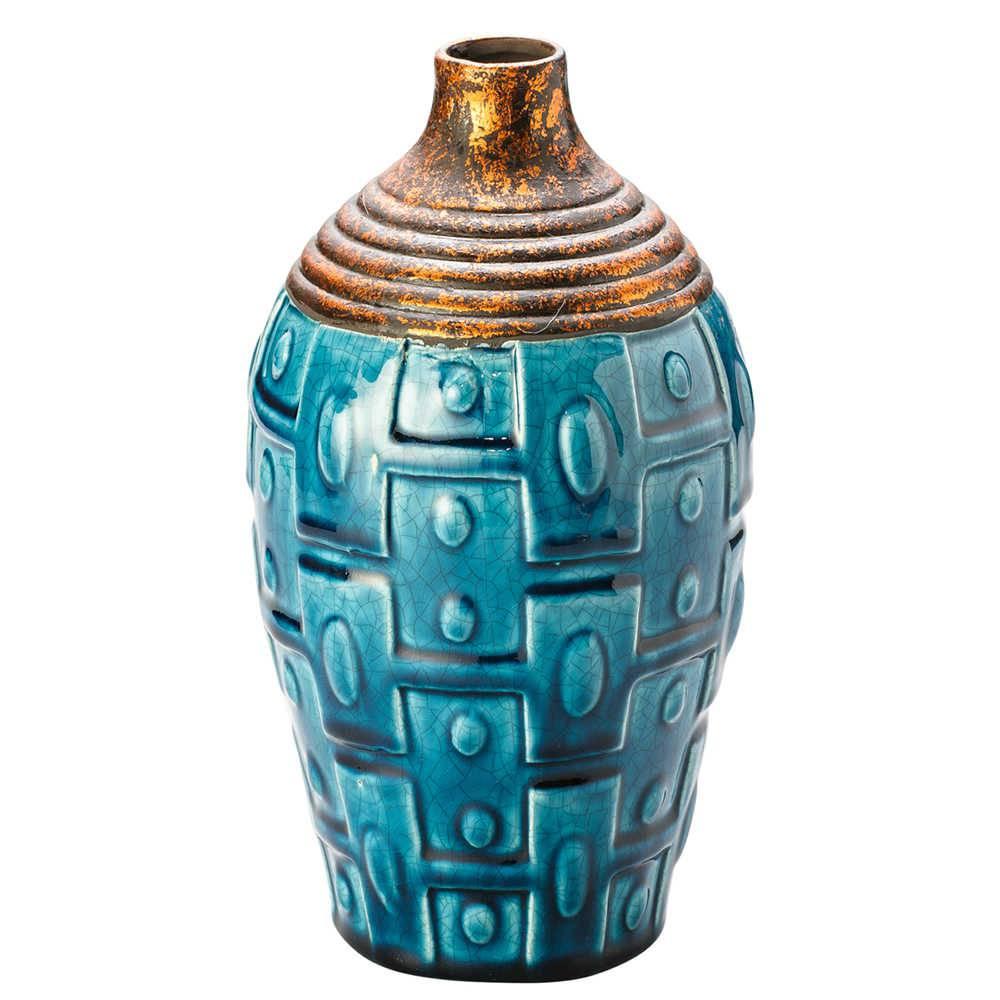Vaso Squabby Turquesa em Cerâmica - Lyor Classic - 30 cm