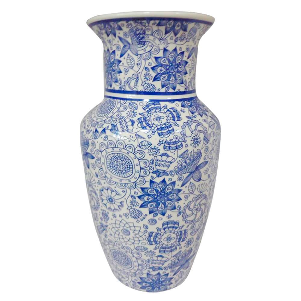 Vaso Straight Neck Índigo Henna Azul em Cerâmica - Urban - 25x13 cm