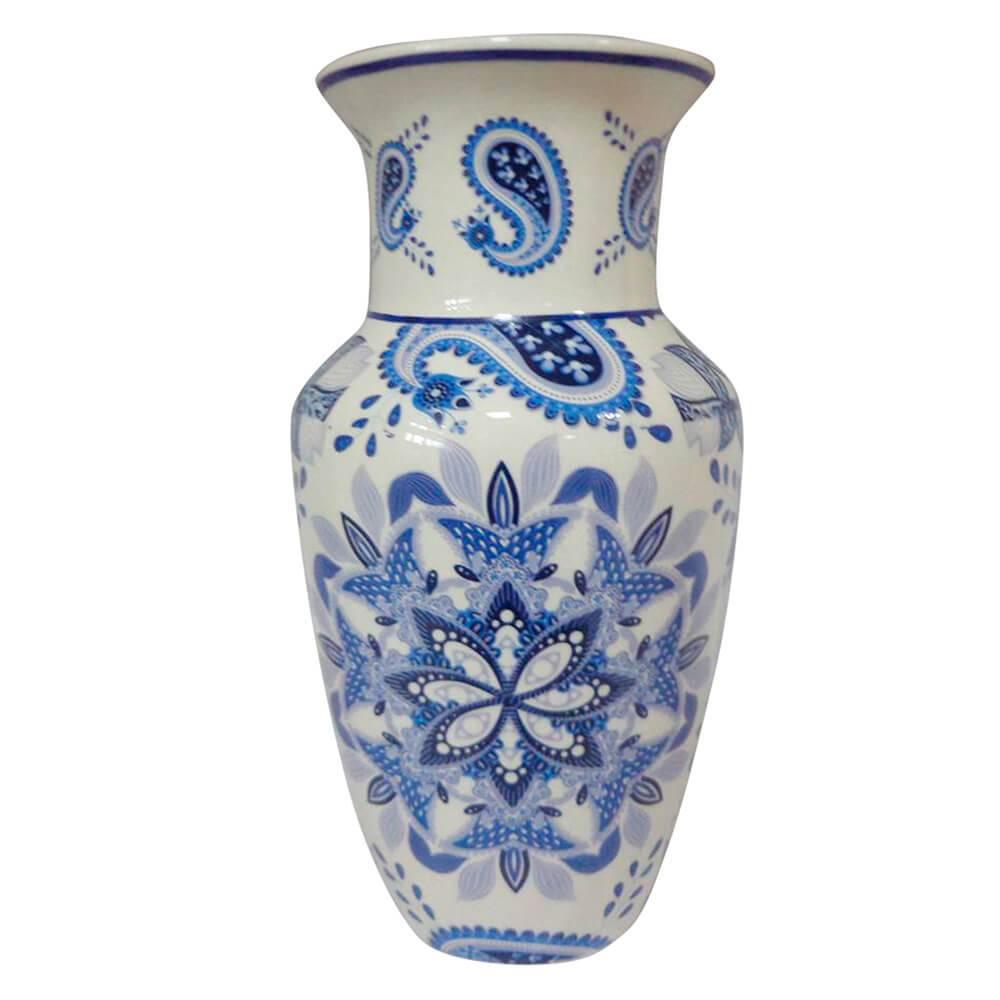 Vaso Straight Neck Índigo Madala Azul em Cerâmica - Urban - 25x13 cm