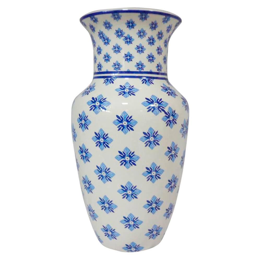 Vaso Straight Neck Índigo Small Flowers Azul em Cerâmica - Urban - 25x13 cm