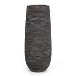 Vaso Stripe Cinza Redondo em Cerâmica