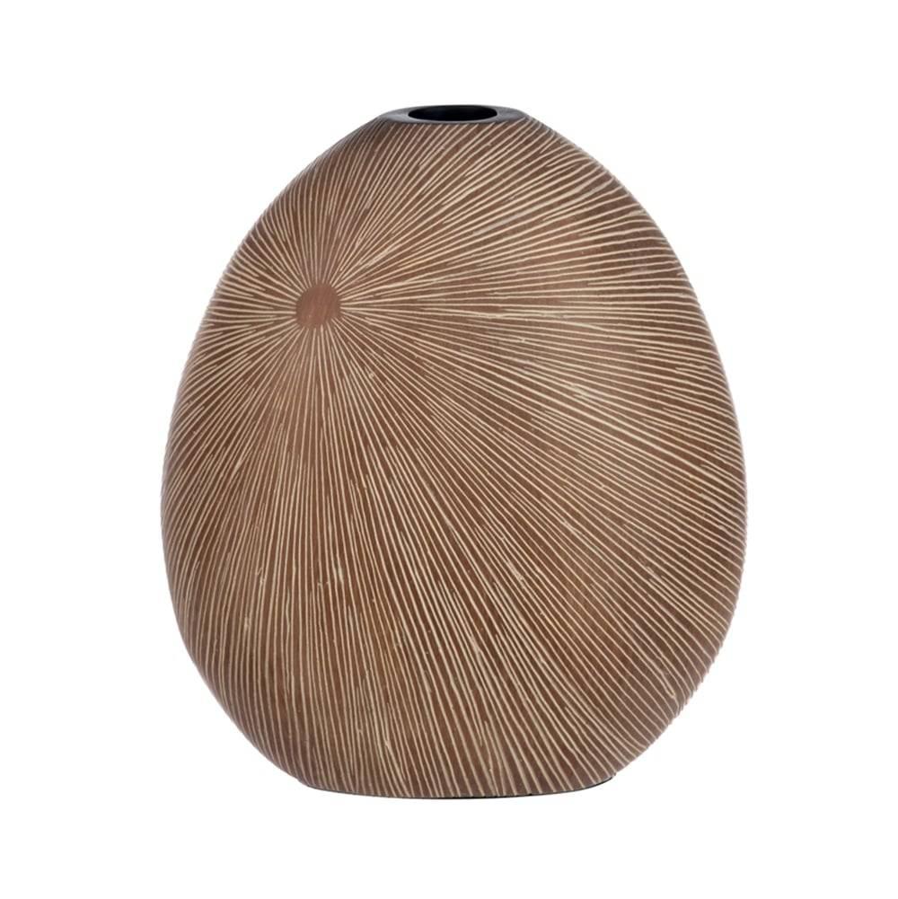 Vaso Stripe Marrom Claro em Cerâmica - 30x24 cm