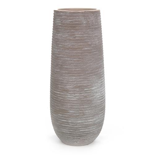 Vaso Stripe Marrom Redondo em Cerâmica - 36x14 cm