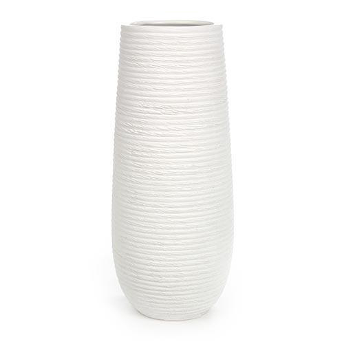 Vaso Stripe Redondo Branco em Cerâmica - 31x14 cm