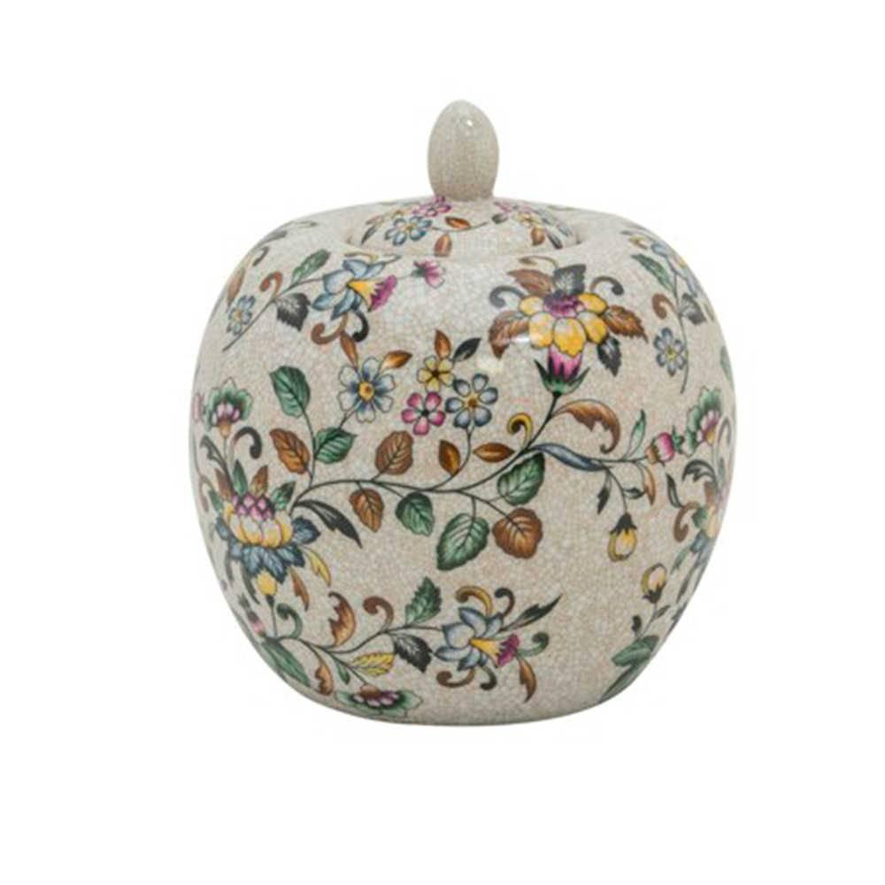 Vaso com Tampa Floral Vintage Pintado a Mão com Fundo Bege Pequeno em Porcelana - 22x18 cm