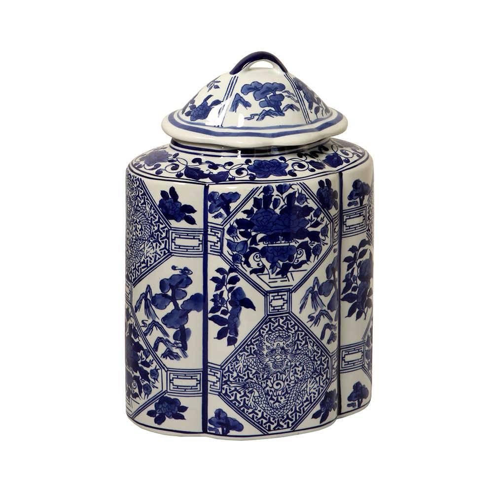 Vaso com Tampa Flores Orientais Azul com Branco em Porcelana - 34x23 cm