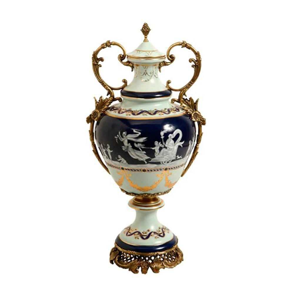 Vaso com Tampa Gold Azul Grande em Porcelana - 57x28 cm
