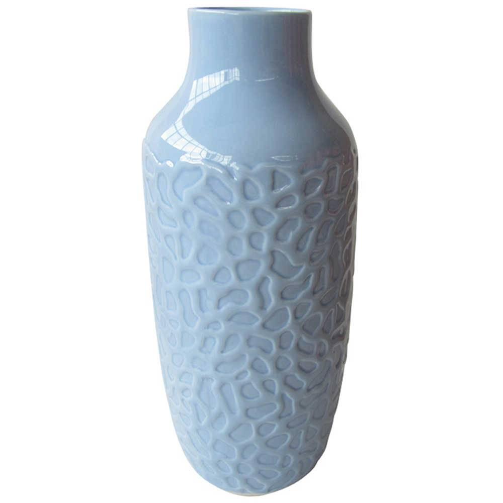 Vaso Texture Coral Finish Azul em Cerâmica - Urban - 31x11 cm