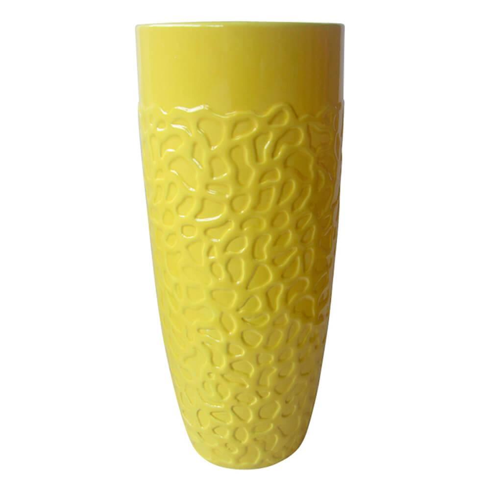 Vaso Texture Coral Finish Long Amarelo em Cerâmica - Urban - 30x11,5 cm