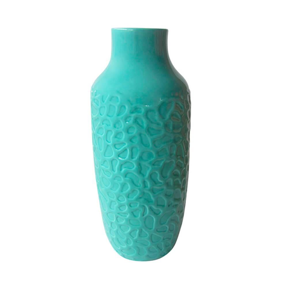 Vaso Texture Coral Finish Verde em Cerâmica - Urban - 31x11 cm