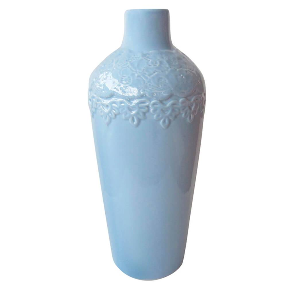Vaso Texture Lace Azul em Cerâmica - Urban - 30,5x13 cm