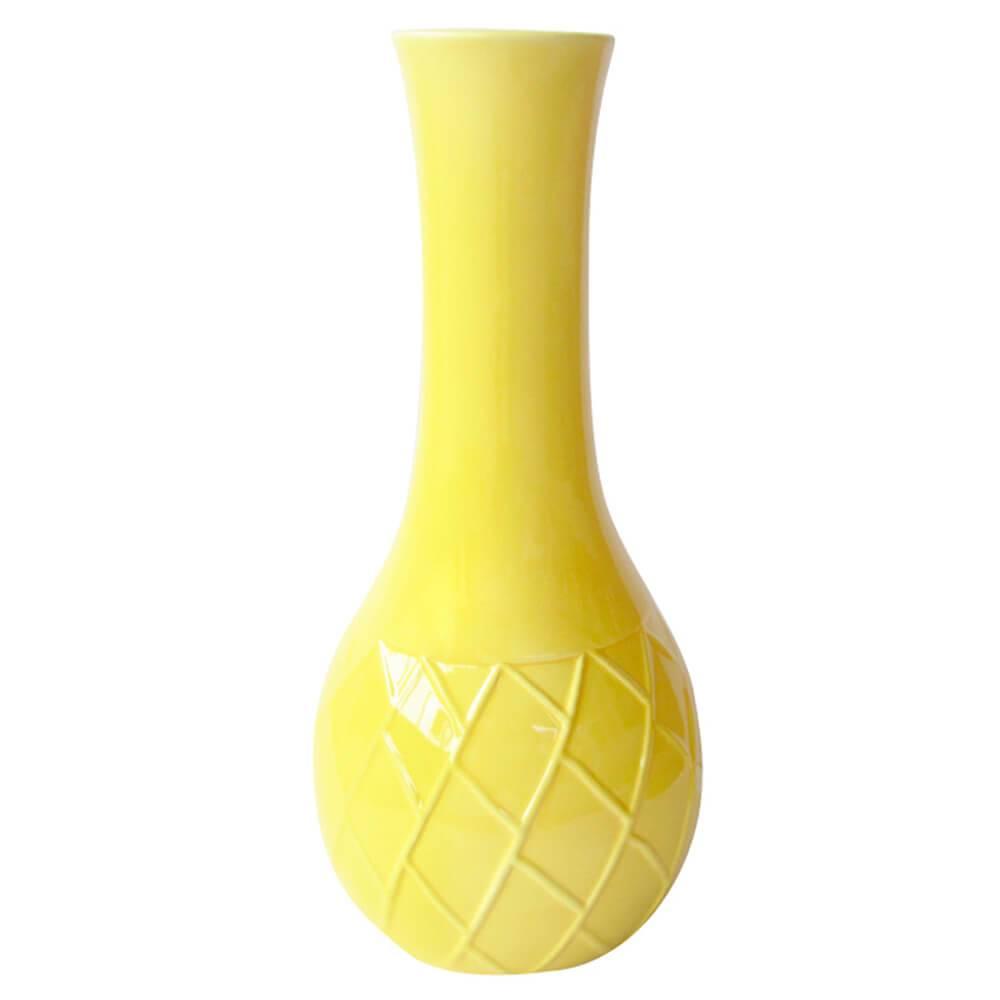Vaso Texture Leaf Detail Long Neck Amarelo em Cerâmica - Urban - 28x14 cm