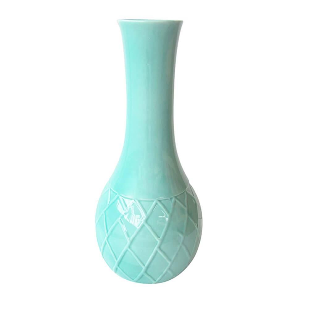 Vaso Texture Leaf Detail Long Neck Verde em Cerâmica - Urban - 28x14 cm