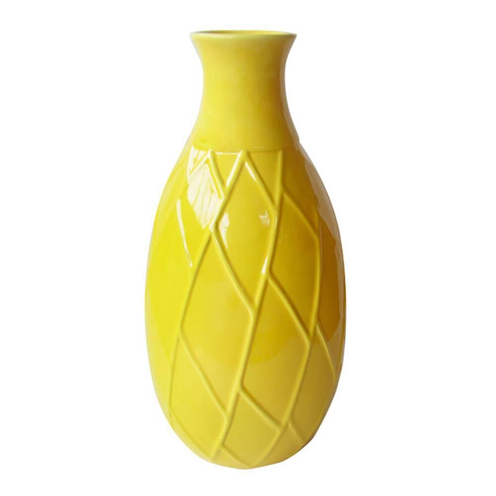 Vaso Texture Leaf Detail Short Neck Amarelo - Urban - 26x15 cm