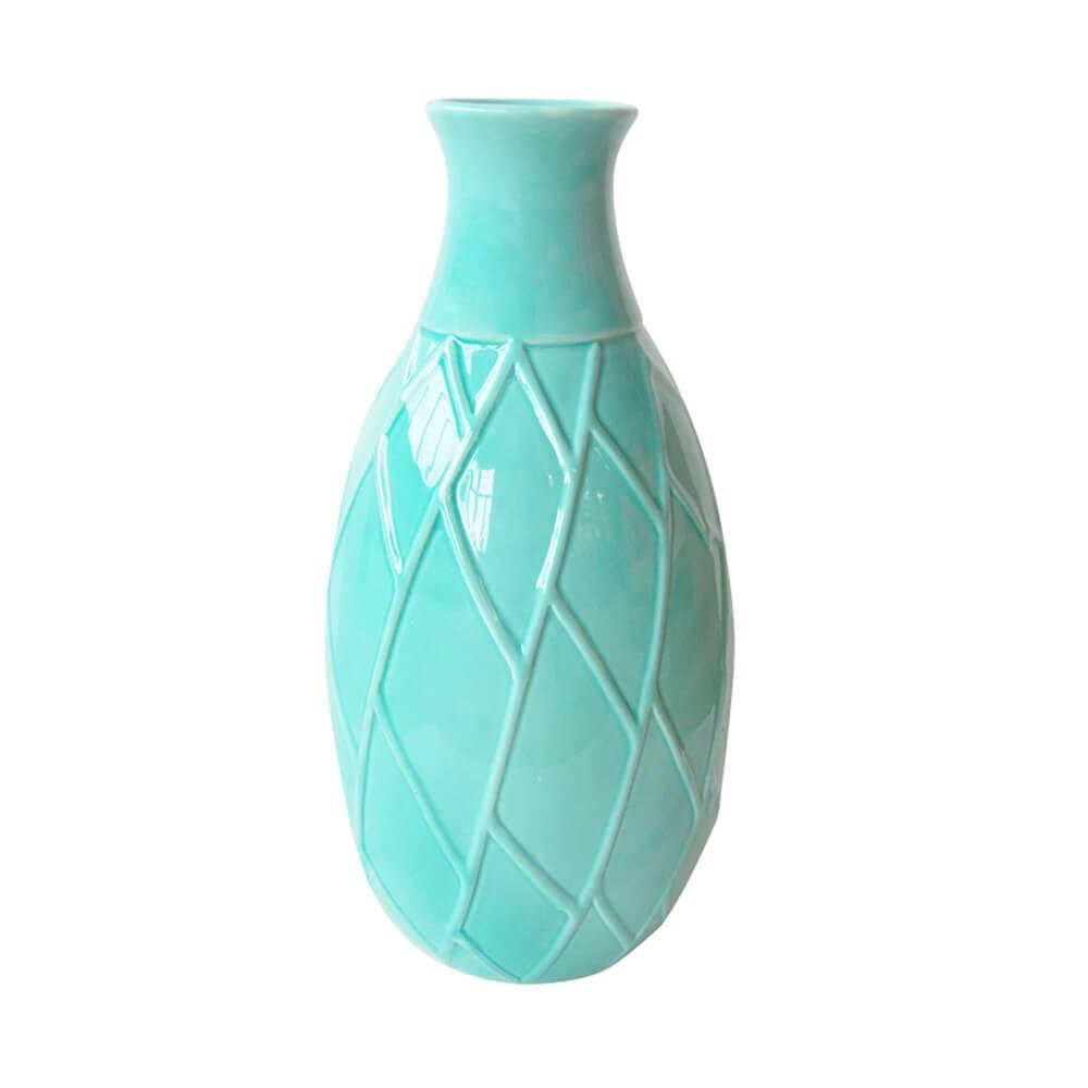 Vaso Texture Leaf Detail Short Neck Verde - Urban - 26x15 cm