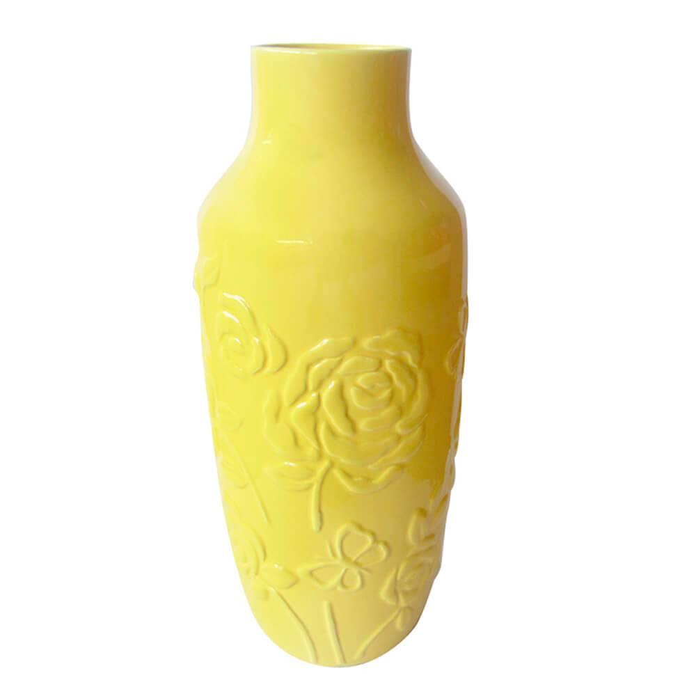 Vaso Texture Rose Flower Amarelo em Cerâmica - Urban - 30x12 cm