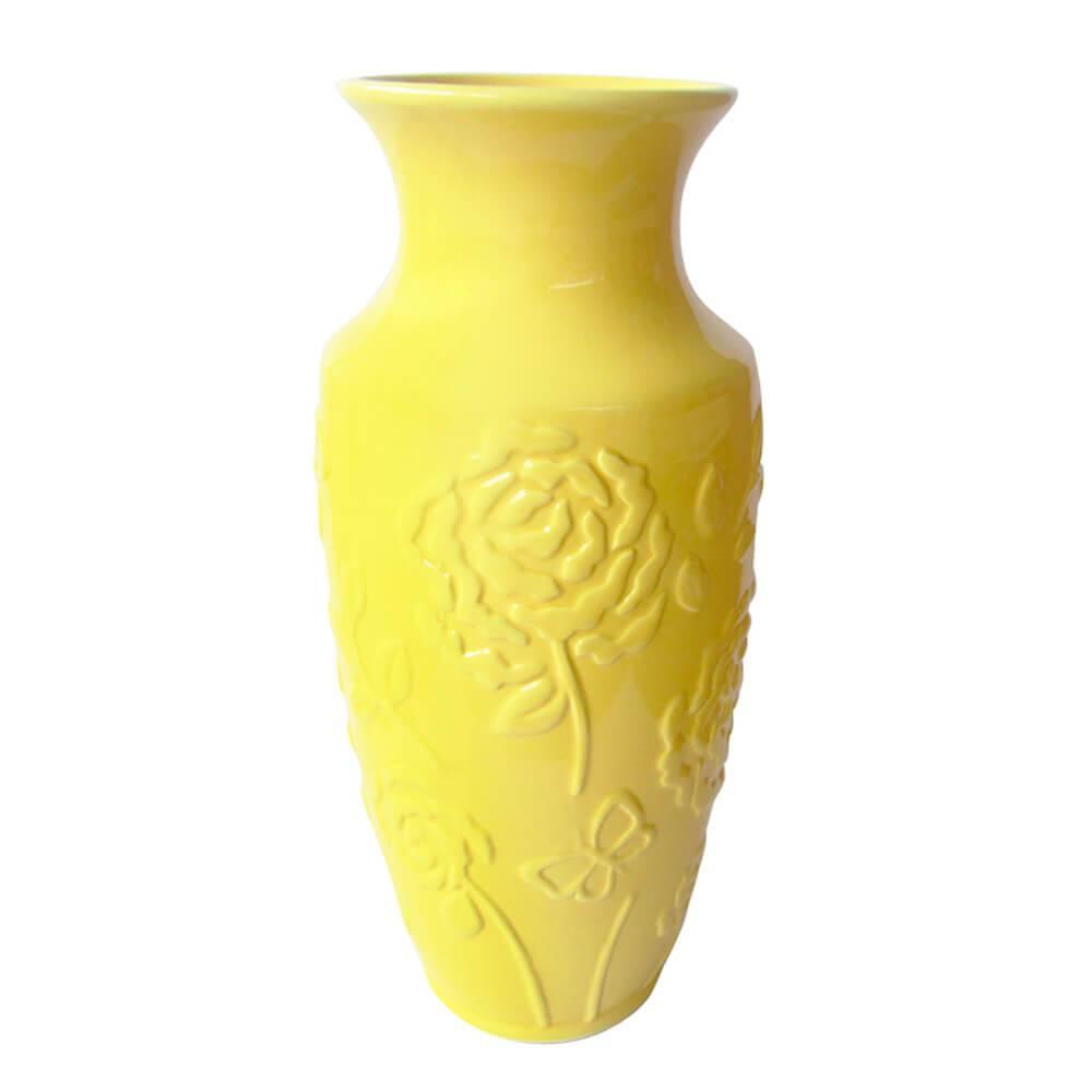Vaso Texture Rose Flower Indian Amarelo em Cerâmica - Urban - 30x13 cm