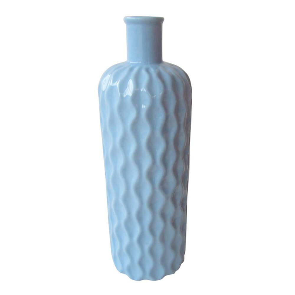 Vaso Texture Wavy Bottle Grande Azul em Cerâmica - Urban - 37x11 cm