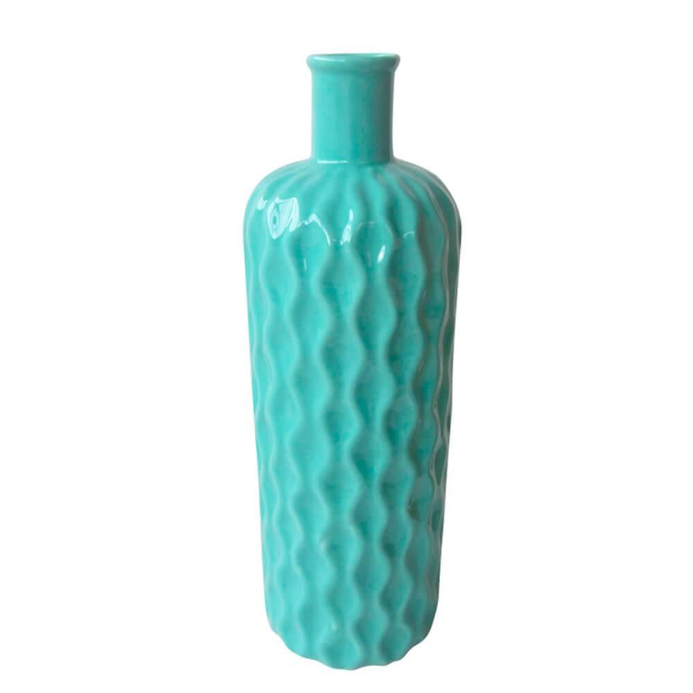 Vaso Texture Wavy Bottle Grande Verde em Cerâmica - Urban - 37x11 cm