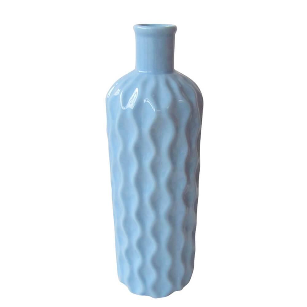 Vaso Texture Wavy Bottle Médio Azul em Cerâmica - Urban - 32x9,5 cm