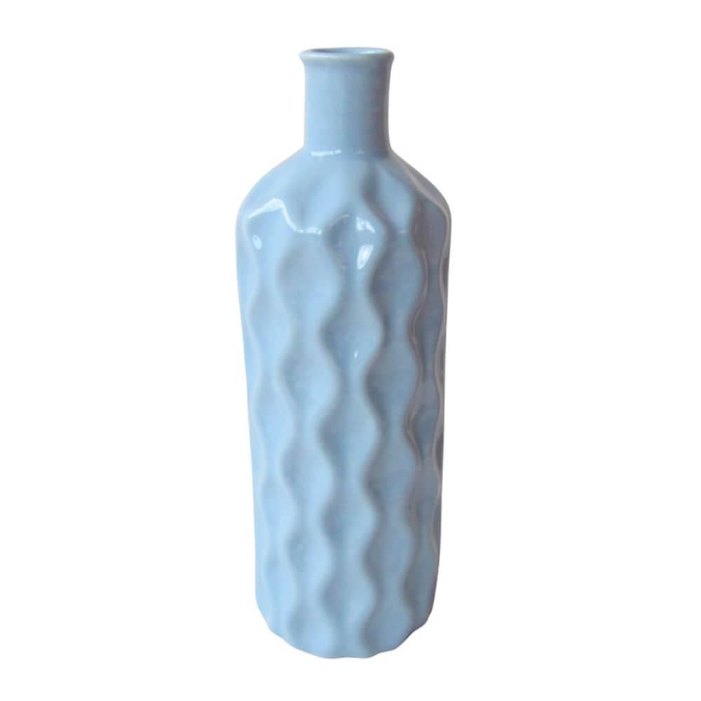 Vaso Texture Wavy Bottle Pequeno Azul em Cerâmica - Urban - 26x8 cm
